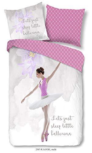 Aminata Kids Ballerina Bettwäsche 135 x 200 cm + 80 x 80 cm aus Baumwolle mit Reißverschluss, unsere Kinderbettwäsche mit Prinzessinen-Motiv ist weich und kuschelig (Flanell-bettwäsche Kid)