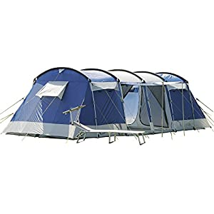 skandika montana family- group tunnel tent with sun canopy porch - insect protection mesh and water resistant material with 5000 mm water column and a handy repair kit