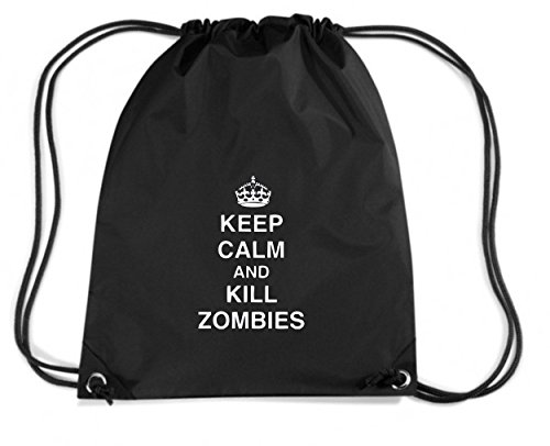 Cotton Island - Zaino Zainetto Budget Gymsac TZOM0042 keep calm and kill zombies tshirt, Taglia Capacita 11 litri