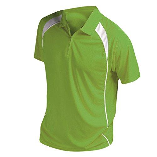 SOLS Herren Palladium Polo-Shirt, Kontrastfarben, Reißverschluss am Kragen, Kurzarm Apfelgrün/Weiß
