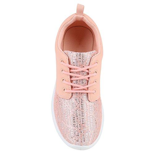 Stiefelparadies Damen Sportschuhe Neon Laufschuhe Runners Sneakers Fitness Schnürer Prints Blumen Übergrößen Flandell Rosa Glitzer