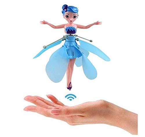 YUEKUN Fliegende Fee Puppe Fliegende Prinzessin Spielzeug Flugzeug Mädchen RC Helikopter Hubschrauber Flugzeuge Kinder Handsensor Spielzeug mit Infraroterkennung Licht Ferngesteuertes (Blau)