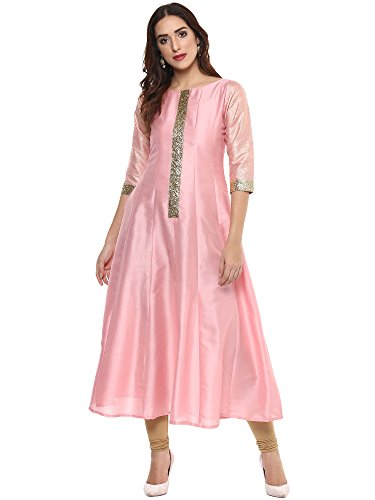 Ahalyaa Light Pink Silk Anarkali with Gold Glitter Patti