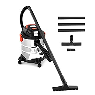 NETTA 3 in 1 20L Wet and Dry Vacuum Cleaner With Blow Function & Powerful Suction - Stainless Steel Tank 1000W