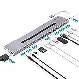 Homtiky USB-C Docking Station Thunderbolt 3 Dock Universal Type C Hub Dock mit 2 4K HDMI Videoausgänge, 4K Mini Displayport, 1080P VGA, Gigabit 1000M LAN, USB C 3.1 Ladeanschluss 60W Grau