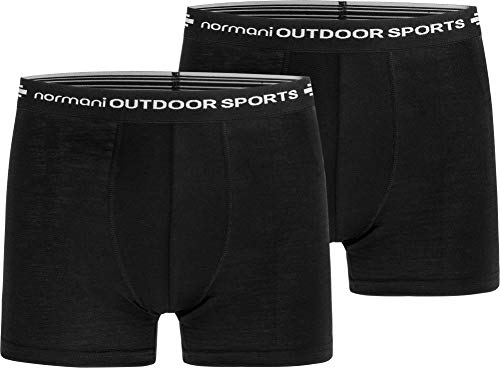 normani 2er Pack Herren Merinounterhose Boxershorts Funktionsunterwäsche 100% Merinowolle Sporthose [S-XXL] Größe M