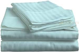 300-thread Zählen 66cm Zoll Tiefe Pocket UK King Size Spannbettlaken aqua gestreift 100% ägyptische Baumwolle
