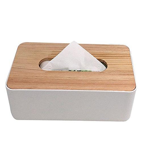 Holz rechteckig Tissue Box Cover Halter, weiß, passgenau Büro Küche Bad Living