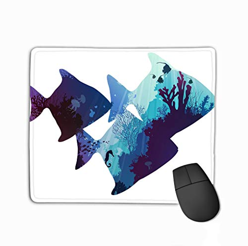 Customized Rectangle Mousepad,Cute Gaming Mouse Pad Mat 11.81 X 9.84 Inch Fish Silhouettes Tropical Seabed Coral Marine Life White Background Color (Corales Marinos)