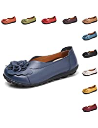 5ca2f4691cf Gaatpot Women s Flowers Leather Moccasins Casual Slip-on Loafer Boat Shoes  Driving Shoes Sandals Size