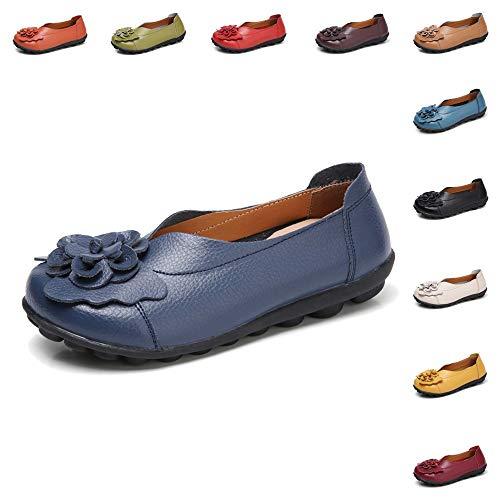 5fb12911bafa66 Gaatpot Damen Blumen Mokassins Atmungsaktiv Leder Bootsschuhe Freizeit Loafers  Flache Fahren Halbsch