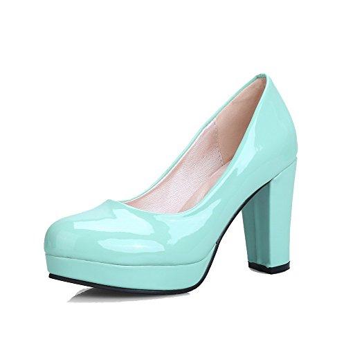 VogueZone009 Donna Tacco Alto Puro Tirare Pelle di Maiale Punta Tonda Ballet-Flats Verde chiaro