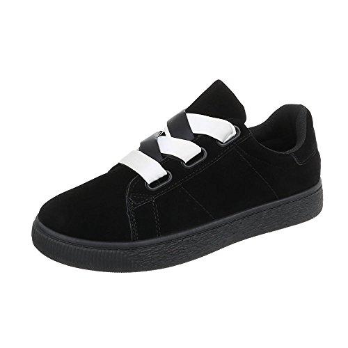 Ital-Design Scarpe da Donna Sneaker Piatto Sneakers Low Nero