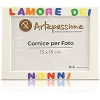 Cornici per foto in legno con la scritta L'Amore Dei Nonni, da appoggiare o appendere, misura 13x18 cm Bianca. Ideale per regalo e ricordo.