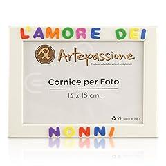 Idea Regalo - Cornici per foto in legno con la scritta L'Amore Dei Nonni, da appoggiare o appendere, misura 13x18 cm Bianca. Ideale per regalo e ricordo.