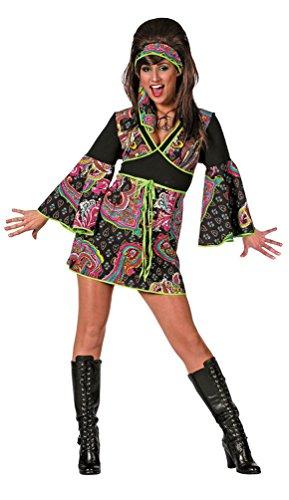 Karneval Klamotten Hippie Kleid Kostüm Damen Flower-Power Kostüm Damen inkl. Haarband Batik Karneval 60er Jahre Hippie Damenkostüm Größe 40