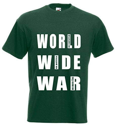 T-SHIRT WORLD WIDE WAR ANTIKRIEGS-SHIRT ANTI KAPITALISMUS ANTI POLITIK SHIRT bottle green