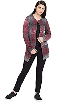 BOXYMOXY Jacquard Designer Woolen Wear Long Multi Grey Red and Black Long Cardigan Sweater with Hook and Pockets