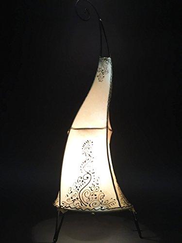 Orientalische Stehlampe Daya Natur 70cm Lederlampe Hennalampe Lampe | Marokkanische Große Stehlampen aus Metall, Lampenschirm aus Leder | Orientalische Dekoration aus Marokko, Farbe Natur