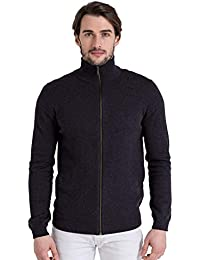 WoolOvers Cardigan à fermeture éclair - Homme - Cachemire et coton Charcoal, XL