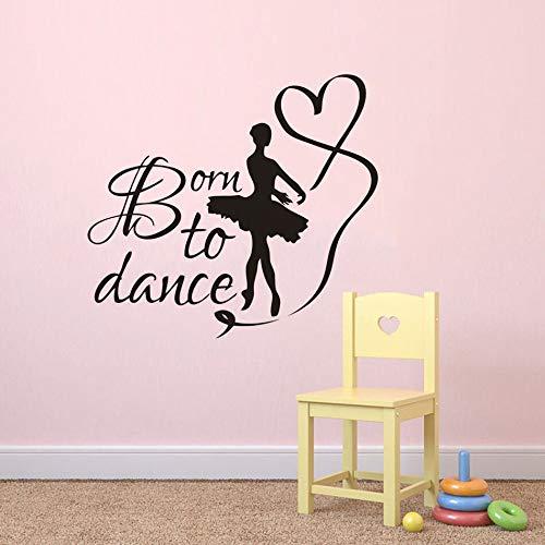 Crjzty Geboren zu tanzen Zitat Wand Poster Tänze Studio Dekoration Tänzerinnen Wandaufkleber Tanz Mit Band Wandtattoos Kunst 63 * 57 cm (Studio Dekoration)