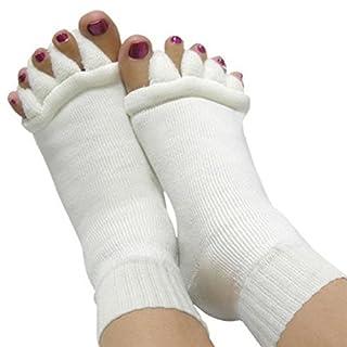 SupplyEU 1 Paar Fußzehen Zehenspreizer Wellness zehensocken Ausrichtung Männer & Frauen Socken aus Baumwolle (Weiß)