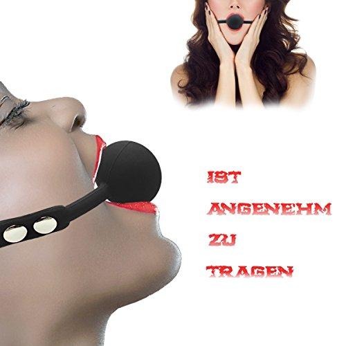 Hisionlee BDSM Mouth Gag Ball Interchange Silikon Ball Gag mit Sperre Schlüssel (Schwarze Kugel-Linie) - 4