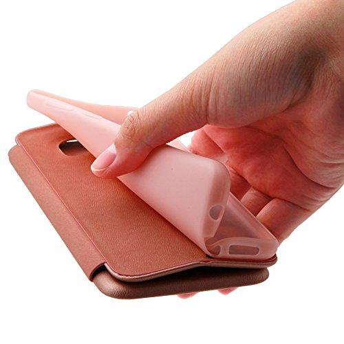 XUNDD iPhone 7/iPhone 8 4.7 Zoll Flip Book Case Cover Stand Leder Hülle Etui Tasche with Karte Halterung Wallet Klapphülle Magnetische Adsorption Bumper Ultra Slim,Rose Gold GOLD