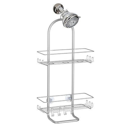 InterDesign Classico Extra Large Shower Caddy – Bathroom Storage Shelves for Shampoo, Conditioner and Soap, Silver