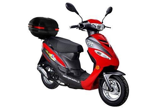 Roller GMX 450 SPORT Mofa 25 km/h rot + Topcase 2,4 KW / 3,3 PS / Luftgekühlt / Alufelgen / Gepäckträger / Scheibenbremse / Teleskopgabel Hydraulisch / ab 15 Jahren