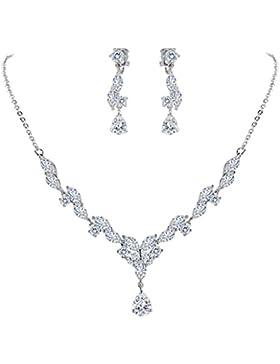 Clearine Damen Hochzeit Braut CZ Marquise From Blatt Schmetterling Y-Halskette Dangle Ohrringe Set