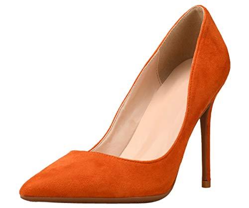 Bigtree Damen Pumps High Heels Suede Comfort Klassische Mode Pointed Toe Kleid Schuhe mit Pfennigabsätzen Orange 42 EU