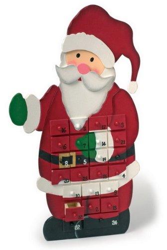"""Adventskalender \""""Weihnachtsmann\"""" aus bunt lackiertem Holz, mit 24 kleinen Schubladen, zum Verstecken von kleinen Überraschungen, verkürzt das Warten auf Weihnachten"""