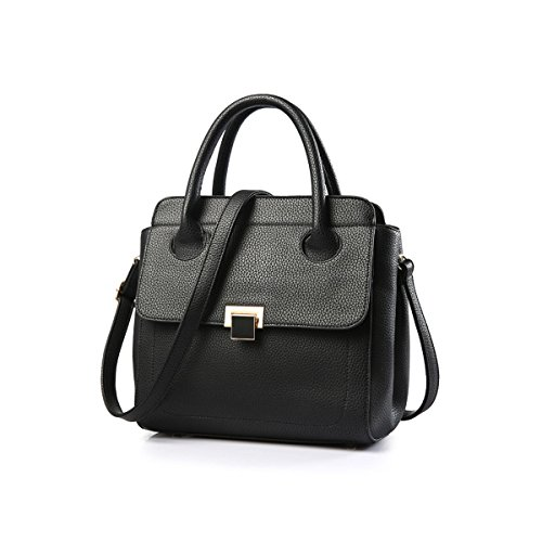 Emotionlin Delle Donne Alla Moda Del Progettista Del Cuoio Boutique Faux Grande Spalla Del Tasto Lucchetto Bag (Black) Black