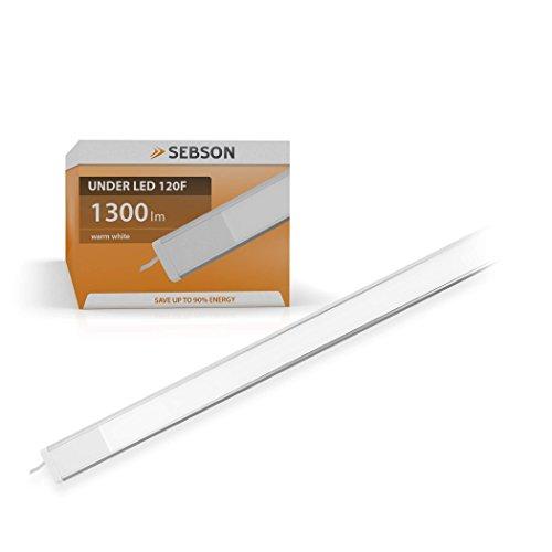 SEBSON® LED bajo mueble 120cm, tira de iluminación, Calido Blanca, 20W, 1300lm