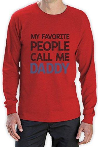 Geschenke für Vater - My favorite people call me Daddy Langarm T-Shirt Rot