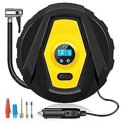 Binken Auto Luftpumpe,12V Luftkompressor Reifen Inflator Kompressor Digital Tragbare Kompressor mit LCD Bildschirm, Auto Reifenpumpe mit 3 Meter Stromleitung für Auto, Fahrrad,Basketball