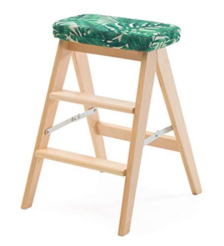 QIANCHENG-Ladder Klappstufen Leiter Massivholz Multifunktions Kreativ Tritthocker Küche Haushalt Mit Kissen,Hoch 59cm,mehrere Farbe,Wood-#2 (3 Bücherregal Regal Birke)
