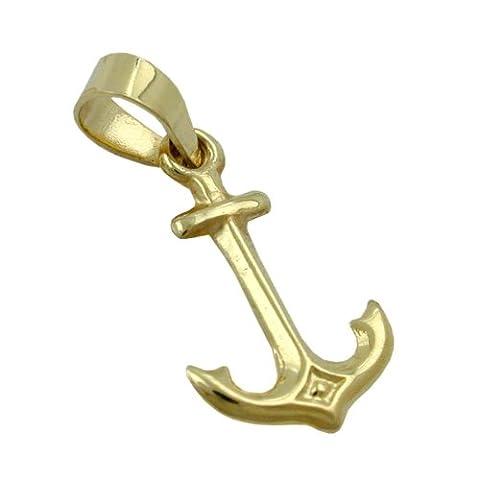Unbespielt Goldanhänger Unisex Kettenanhänger Anhänger für Halskette Damen und Herren Anker aus 9 kt 375 9 kt Gelbgold 14 x 9 mm inkl. Schmuckbox inkl. kleiner