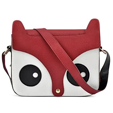 Fox Owl Retro Shoulder Messenger Bag Pu Leather Crossbody Satchel Handbag - Red