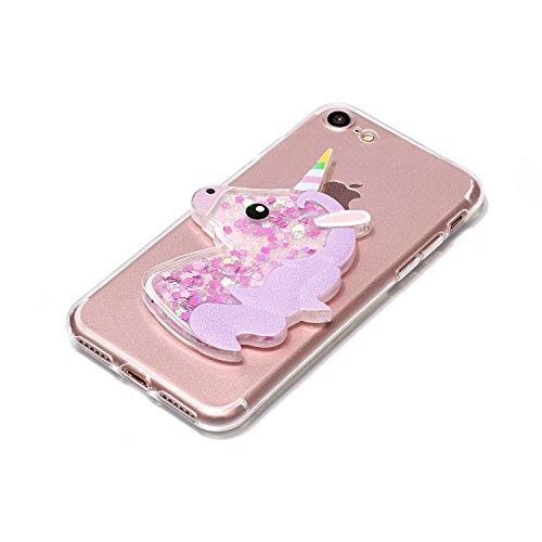 Cover iPhone 6S Plus 6 Plus Unicorno, E-Unicorn Custodia Cover Apple iPhone 6S Plus 6 Plus Brillantini Glitter 3D Rosso Unicorno Liquido Trasparente con Disegni Cristallo di Bling Silicone Ultra Sotti Porpora