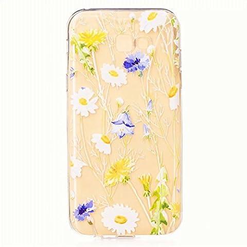 SKHOP TPU Manchon en silicone pour Samsung Galaxy A7(2017) téléphone Shell Case Cas de téléphone portable avec motif mince d'impression- Chrysanthème jaune