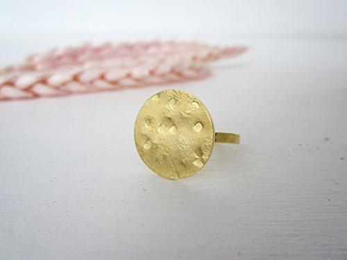 Sterling Silber Ringe Münze Damen (GLORIA Silber Ring - Silber Disc Ring - Sterling Silber Runde Ring - Kugel Ring Sterling Silber - Münze Ring - Statement Ring vergoldet)