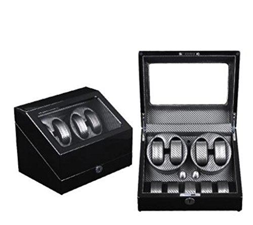 KY Uhrenbeweger Auto Watch Winder Dual Uhrenbeweger Speicher Display Watch Winder Fall automatische Rotation Winder (Farbe : 4+5-Black+Gray)