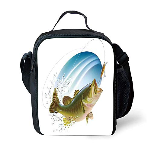 School Supplies Fishing Decor,Largemouth Sea Bass Catching a Bite in Water Spray Motion Splash Wild Image,Green Blue for Girls or Boys Washable