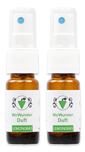 WcWunder Toilettenduft, Toilettenparfüm, Geruchsblocker 2x 10ml ´to go´-Version Lemongras
