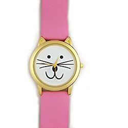 *UK* CUTE CAT FACE WRIST WATCH with GOLD-TONE EARS and PINK STRAP! KITTEN KITTY