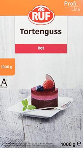 RUF Tortenguss rot ohne Gelatine zuckerfrei für Obstkuchen mit roten Früchten, 1er Pack (1 x 1000 g)