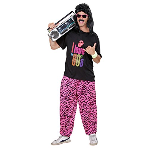 stüm 80er Jahre Kostüm M/L 46 bis 52 Zebra Sportkostüm Macho Prollkostüm Achtziger Outfit Verkleidung ()