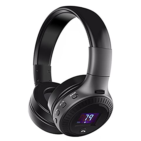 Bluetooth Kopfhörer, ELEGIANT Multifunktion Bluetooth 4.0 Wireless Stereo Headset Wiederaufladbare drahtlose Kopfhörer Ohrhörer mit Digital Display On Ear Kopfhörer 4 Modi Freisprechfunktion + Mic/ FM Radio/ TF SD Karte Slot/ 3,5mm Audio AUX Kompatibel mit Handys iPhone 7 6 6plus iPad Samsung Galaxy S8 S7 HTC LG Laptops Tablets Smartphone und andere Bluetooth